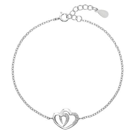 Stříbrný náramek se zirkony dvojité srdce 13011.1 Victum