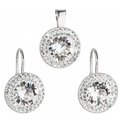 Sada šperků s krystaly Swarovski náušnice a přívěsek bílé kulaté 39107.1 Victum