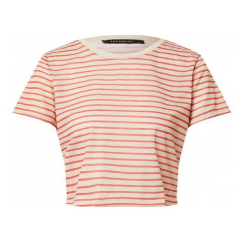 Trendyol Tričko béžová / červená