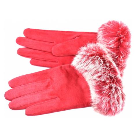 Dámské kožené rukavice ozdobené kožešinou - červená