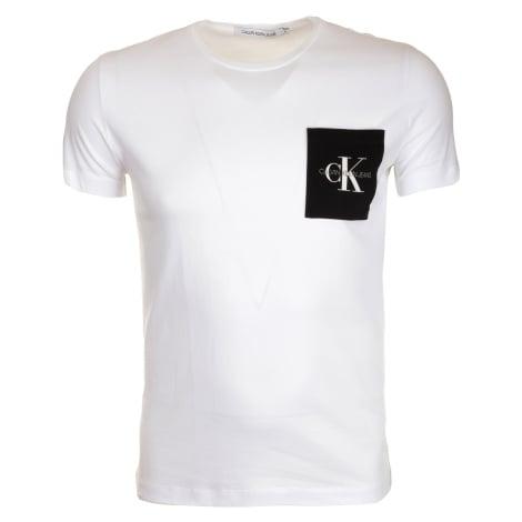 Pánské bílé tričko s barevnou náprsní kapsou Calvin Klein