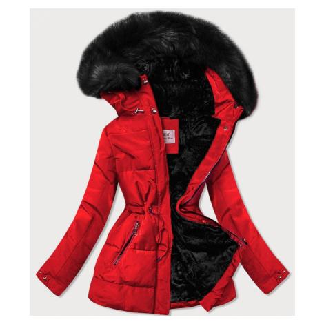 Červená dámská zimní bunda s černým kožíškem (W560) MHM