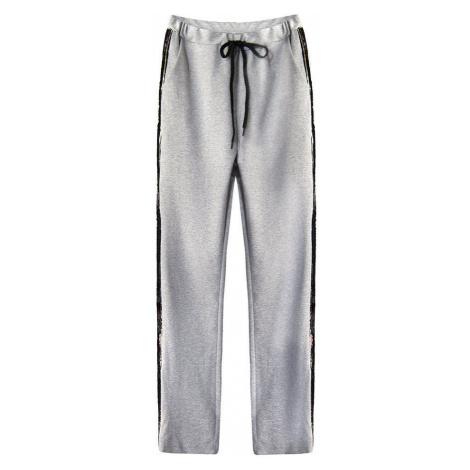 Světle šedé bavlněné kalhoty s flitrovými lampasy (210ART) Made in Italy