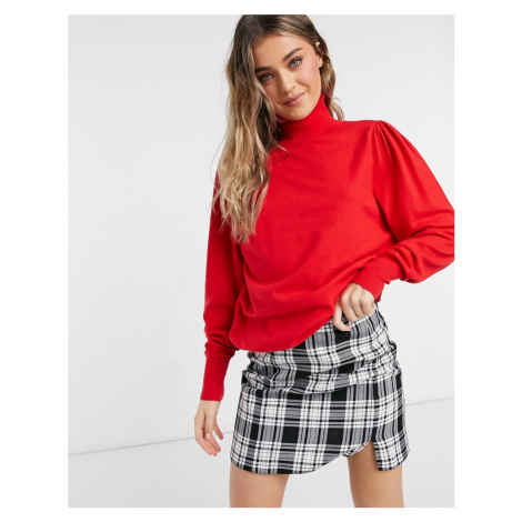 ASOS DESIGN roll neck jumper with open back in red