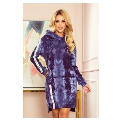 Modré mikinové šaty s kapucí MARIAH 322-1 NUMOCO