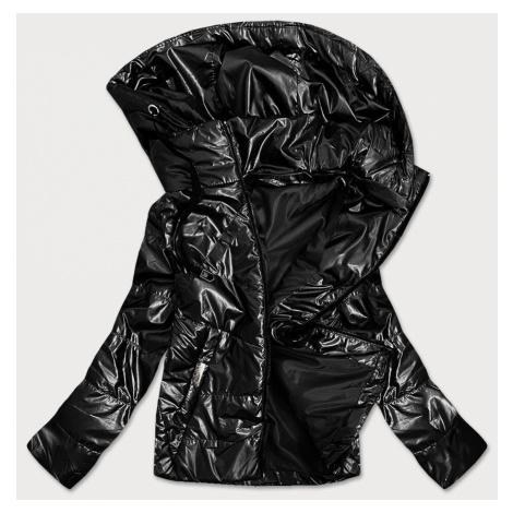 Lesklá černá dámská bunda s kapucí (B9575)