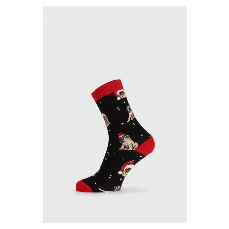 Dámské vánoční ponožky Pug černočervená John Frank