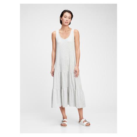 GAP šedé šaty sl tiered maxi dress