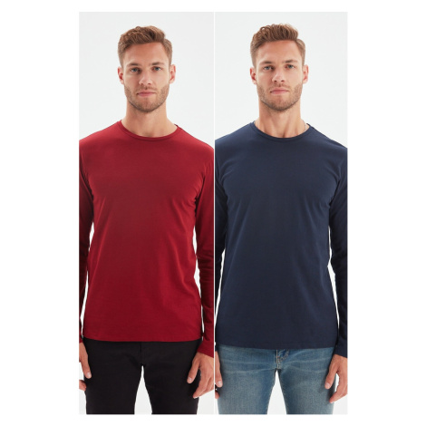 Trendyol Claret Red-Navy Blue Men's 2-Pack Basic Slim Fit Single Jersey Crew Neck Long Sleeved T