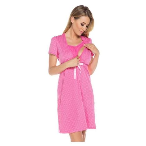 Bavlněná těhotenská noční košile Alena růžová Italian Fashion