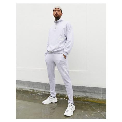 ASOS DESIGN x Dark Future co-ord sweatshirt with half zip and logo print-Grey