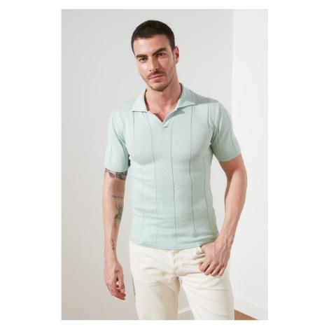 Trendyol Light Green Male Slim Fit Wacky Skid Knitwear T-Shirt
