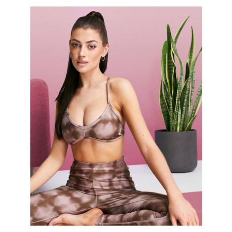 ASOS 4505 sports bra in printed tie dye check-Brown