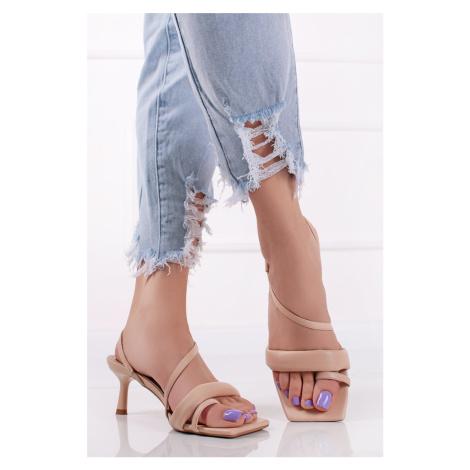 Béžové sandály na tenkém podpatku Marsha Ideal