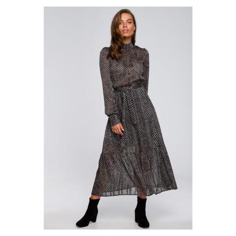 Černé tečkované šaty S238