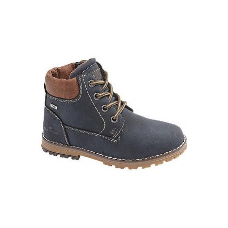 Tmavě modrá kotníková šněrovací obuv se zipem Tom Tailor s TEX membránou