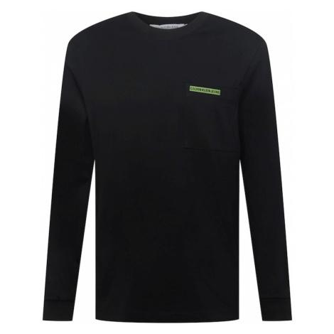 Calvin Klein Jeans Tričko černá / světle zelená