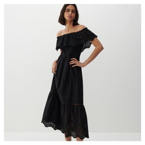 Reserved - Šaty s ažurovou krajkou - Černý
