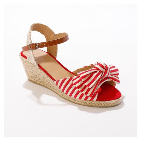 Blancheporte Proužkované sandály na klínku, červené červená