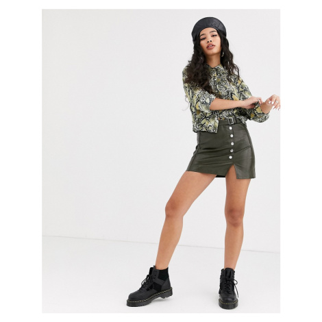 Bershka faux leather mini skirt with button detail in khaki-Green