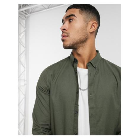 Burton Menswear organic cotton long sleeve skinny oxford shirt in khaki-Green