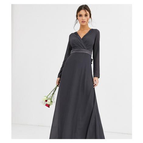 TFNC Bridesmaid long sleeve maxi dress with satin bow back in grey