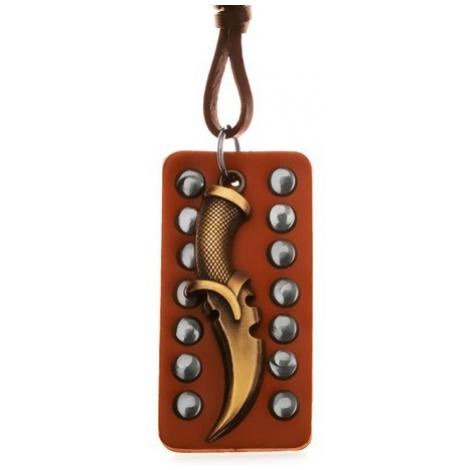 Nastavitelný kožený náhrdelník - patinovaná dýka, okovaný pás kůže Šperky eshop