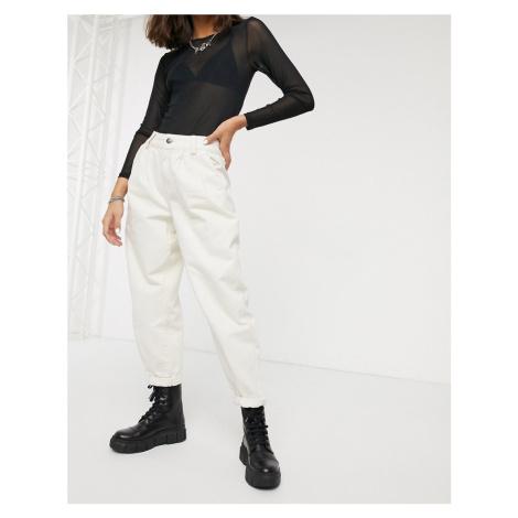 Bershka pleat top slouchy trousers in ecru-Cream